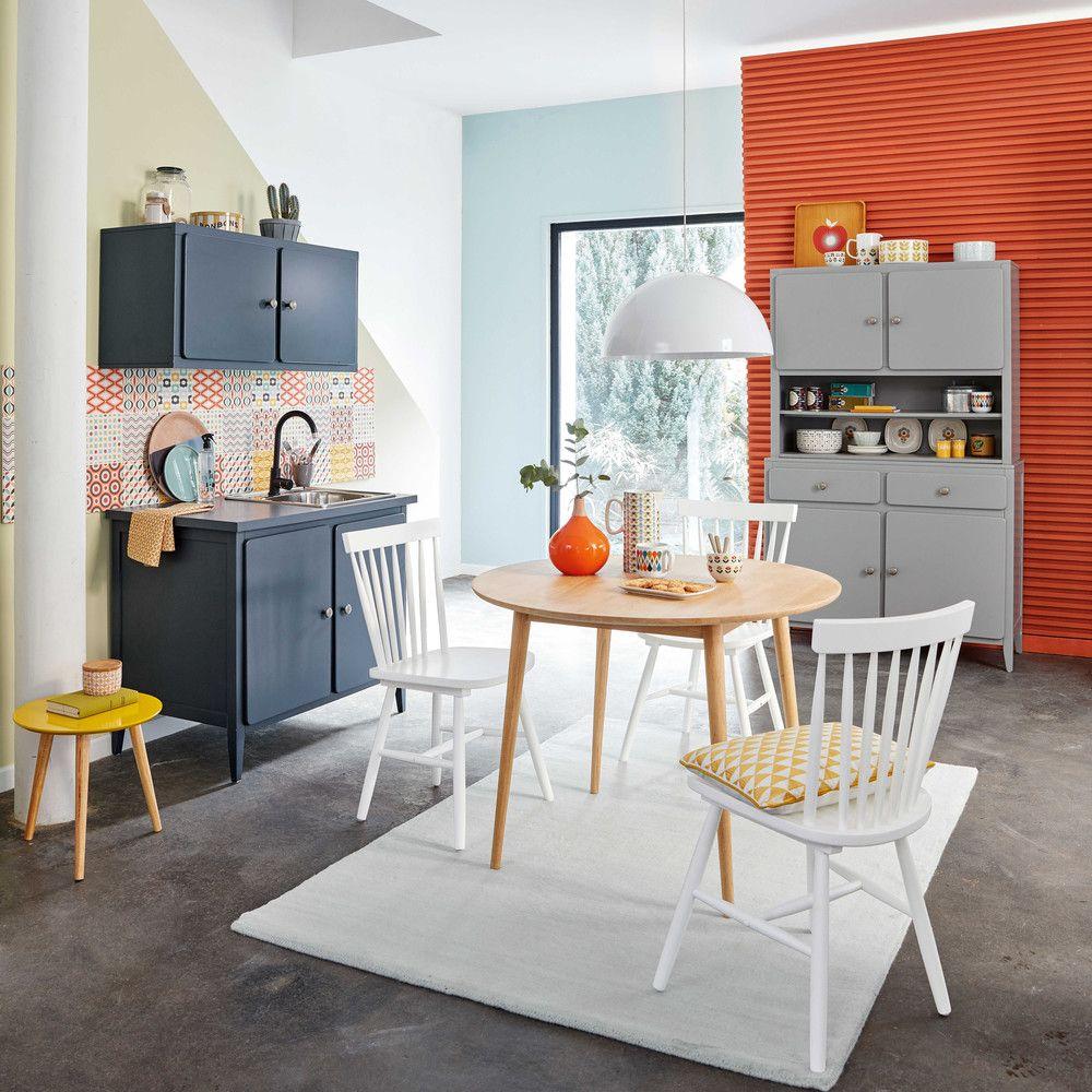 meuble bas de cuisine 2 portes bleu gris thelma maisons du monde