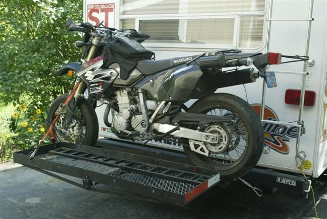 Custom Motorcycle Carrier On The Back Of A Rv Travel Trailer