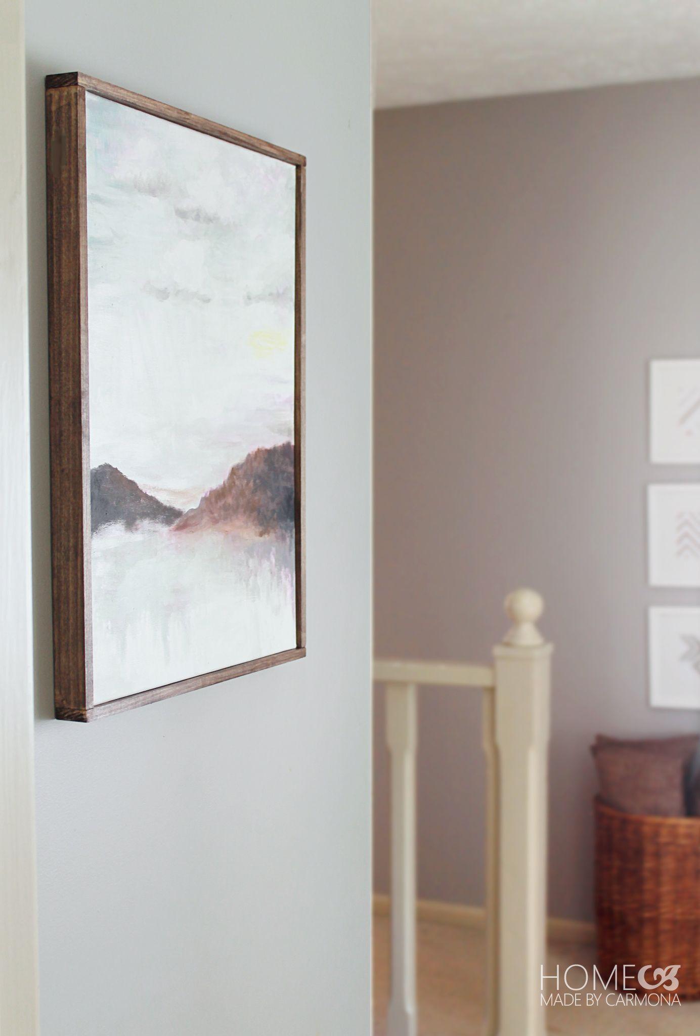 Diy bathroom canvas wall art - Diy Floating Frame Tutorial For 6