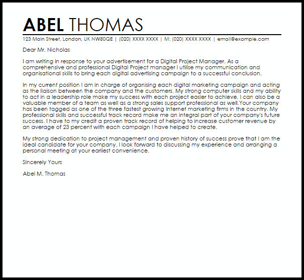 Cover Letter Template Project Manager 2