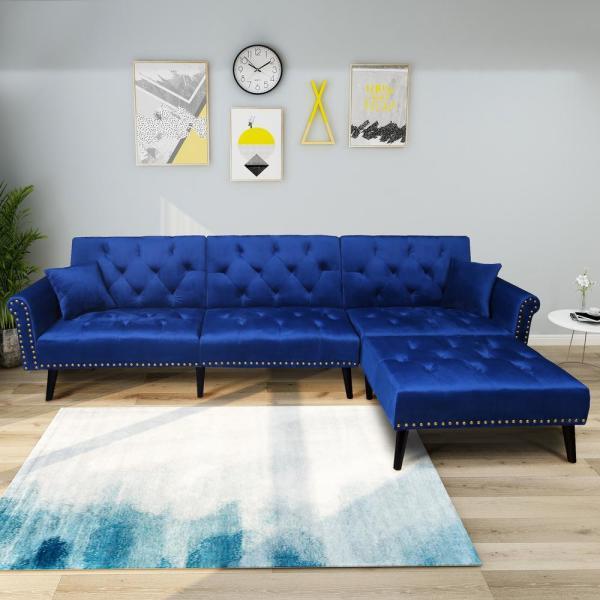 Harper Bright Designs Navy Blue 2 Piece Modern Vintage Futon Sofa Bed Set W223s00007 Sofa Bed Set Upholstered Couch Futon Sofa