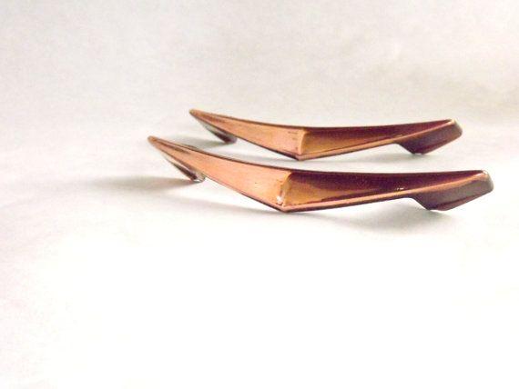 2 Vintage 1960s Metal Drawer Pulls Copper Cabinet Hardware
