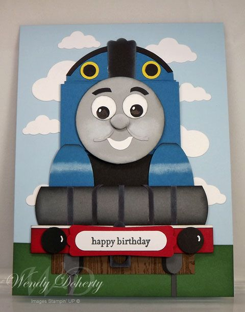 Thomas The Train Homemade Cards Rubber Stamp Art Paper Crafts Splitcoaststampers Com Kids Birthday Cards Kids Cards Punch Art Cards