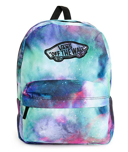 7ef35aa1c607 Launch your style while keeping organized with this mid-size backpack made  with a colorful galaxy print exterior and Vans logo detailing throughout.