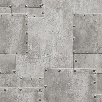 Ht17191 Hit The Road Silver Rivet Metal Steel Plate Effect Wallpaper Plates On Wall Industrial Wallpaper Urban Industrial Decor