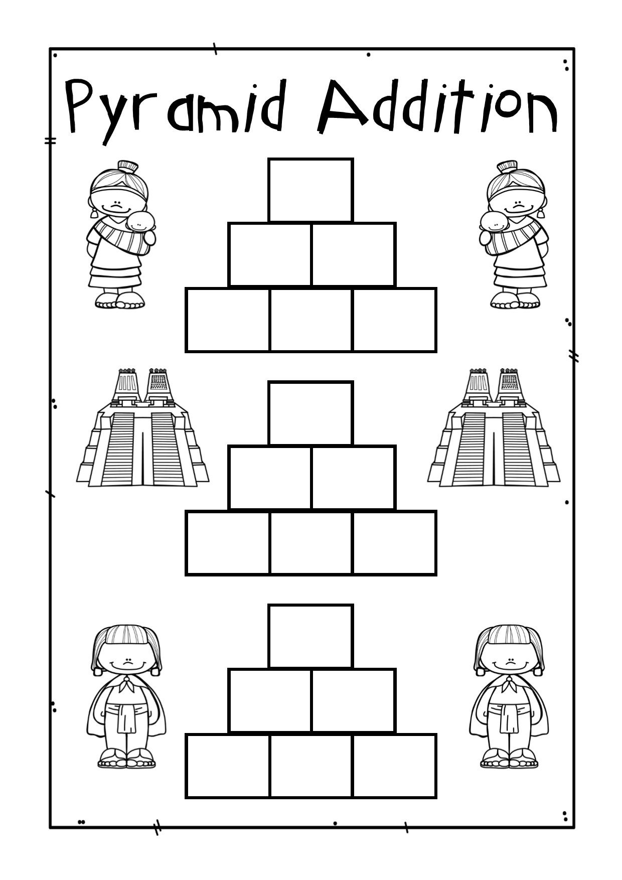 Addition Pyramids Blank and Ready to Go in Math Worksheets – Maths Pyramid Worksheet