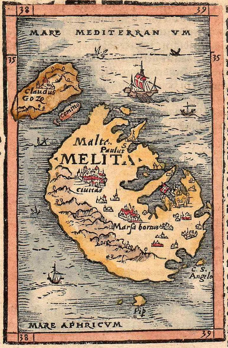 Antique Map of Malta   Malta history   Map, Antique maps, Malta map