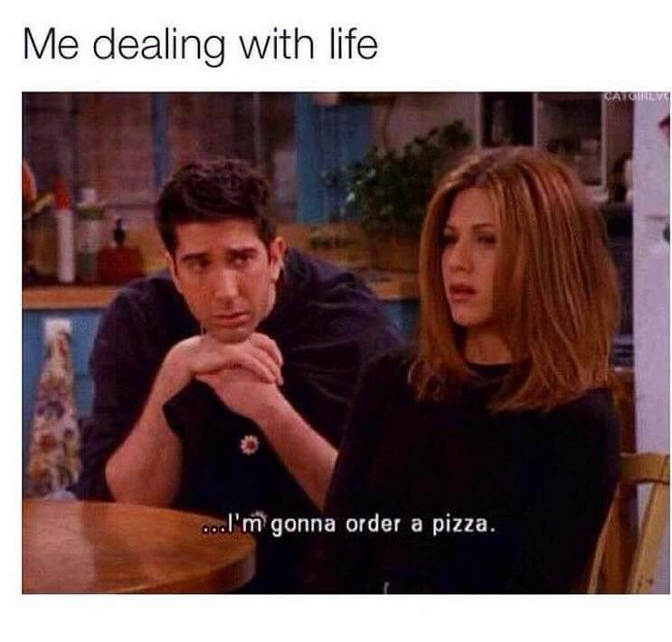 Me Dealing With Life I M Going To Order A Pizza Funny Friend Memes Friends Tv Quotes Friend Memes