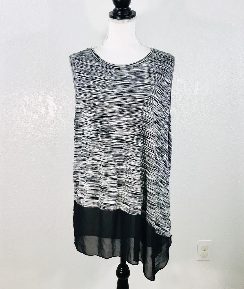 deb52763b4f Vince Camuto Blouse Womens Plus 2X Black White Striped Sleeveless Asymmetric