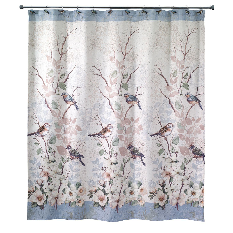 Avanti Love Nest Bird Shower Curtain Bird Shower Curtain Fabric