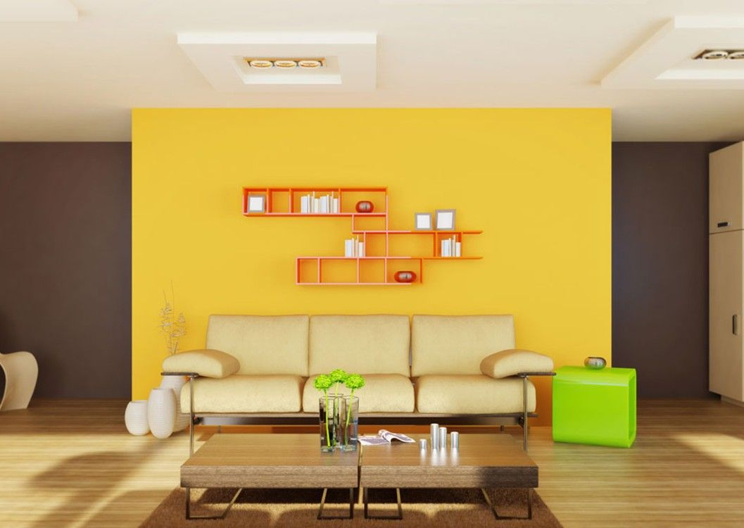 Yellow Bright Living Room Wall Idea With Orange Bookcase Wooden ...