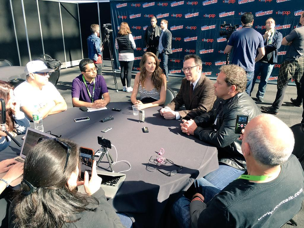 Press round table with @AmyAcker #MichaelEmerson & @POIFUSCO #NYCC #PersonofInterest