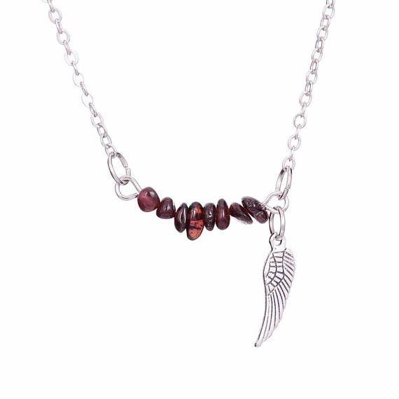 b0d292d3b45ac silver plated silver necklace Garnet chips   Pinterest   Collier ...