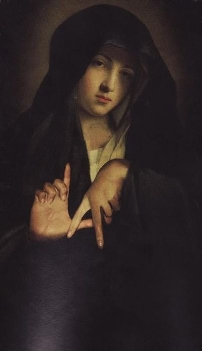 Secret hand-signs have always been used. Here, and example from painter unknown (17th c.?), using a sign that now means Los Angeles for some young gangs (http://img.desmotivaciones.es/201201/tumblr_lxvd5zIRD01qznxy5o1_500_large.jpg) and could be a Masonic symbol (?).  This Madonna has  certain resemblance to   by Giovanni Battista Salvi da Sassoferrato's works:  http://fancy.com/things/294490487/tumblr_lrtyue7Ja41qa8vdgo1_500.jpg http://www.pinterest.com/pin/449374869039876303/