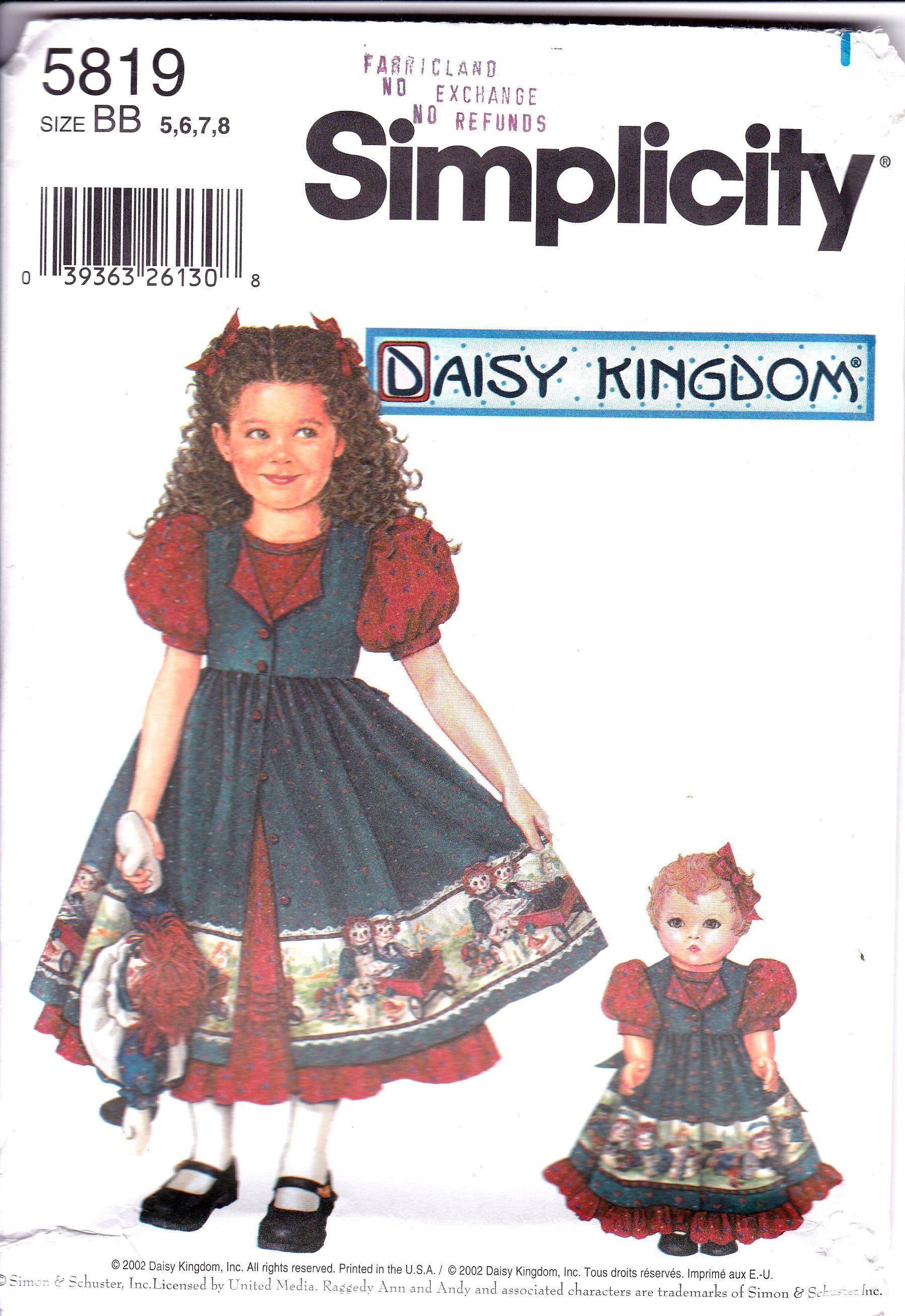 4b7e7beb9 Daisy Kingdom Full Gathered Skirt Dress and Pinafore and Matching 18 Inch Doll  Clothes Pattern, Simplicity 5819, Girls Size 5, 6, 7 and 8 by ...