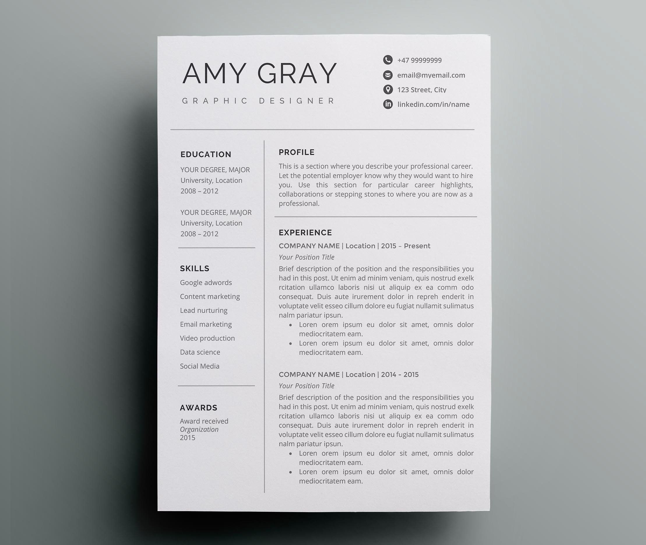 Professional Resume Template / CV (With Images)