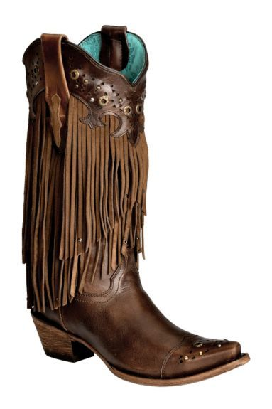 Corral Sierra Fringe & Studded Cowgirl Boots - Snip Toe available at #Sheplers