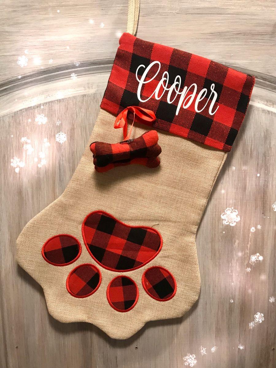 Buffalo plaid dog/pet Christmas stocking Pet christmas