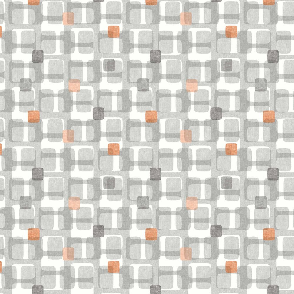 Grey and Orange Retro Block Wallpaper by 902307