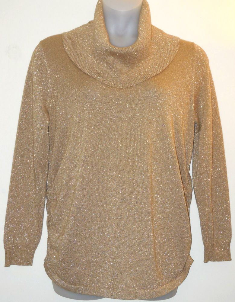 5691d6ab56f94a MICHAEL KORS Sweater Plus Size 1x Gold Metallic Knit Top Ruched Sides Cowl  Neck #MichaelKors #CowlNeck