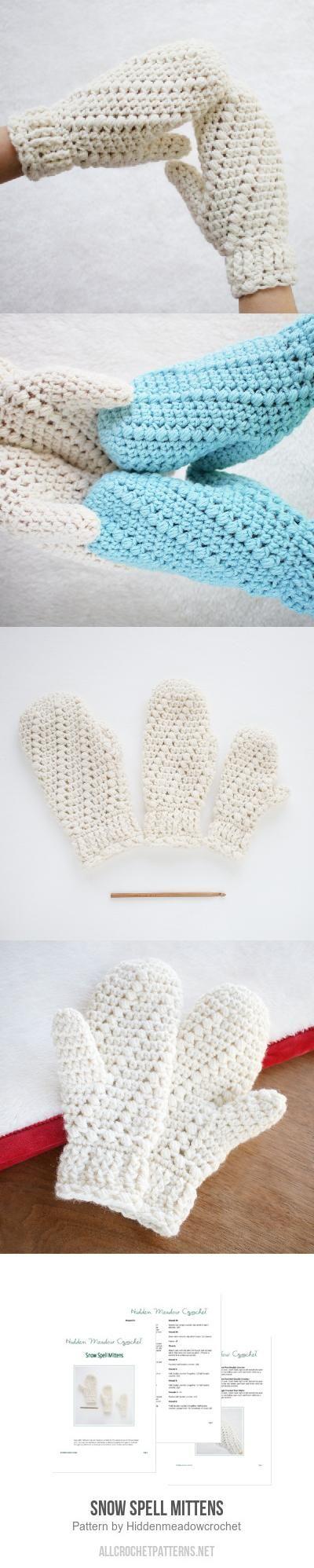 Snow Spell Mittens crochet pattern by Hidden Meadow Crochet ...