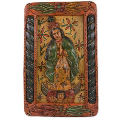 Novica Mary of the Immaculate Conception Wood Relief Panel Wall Décor