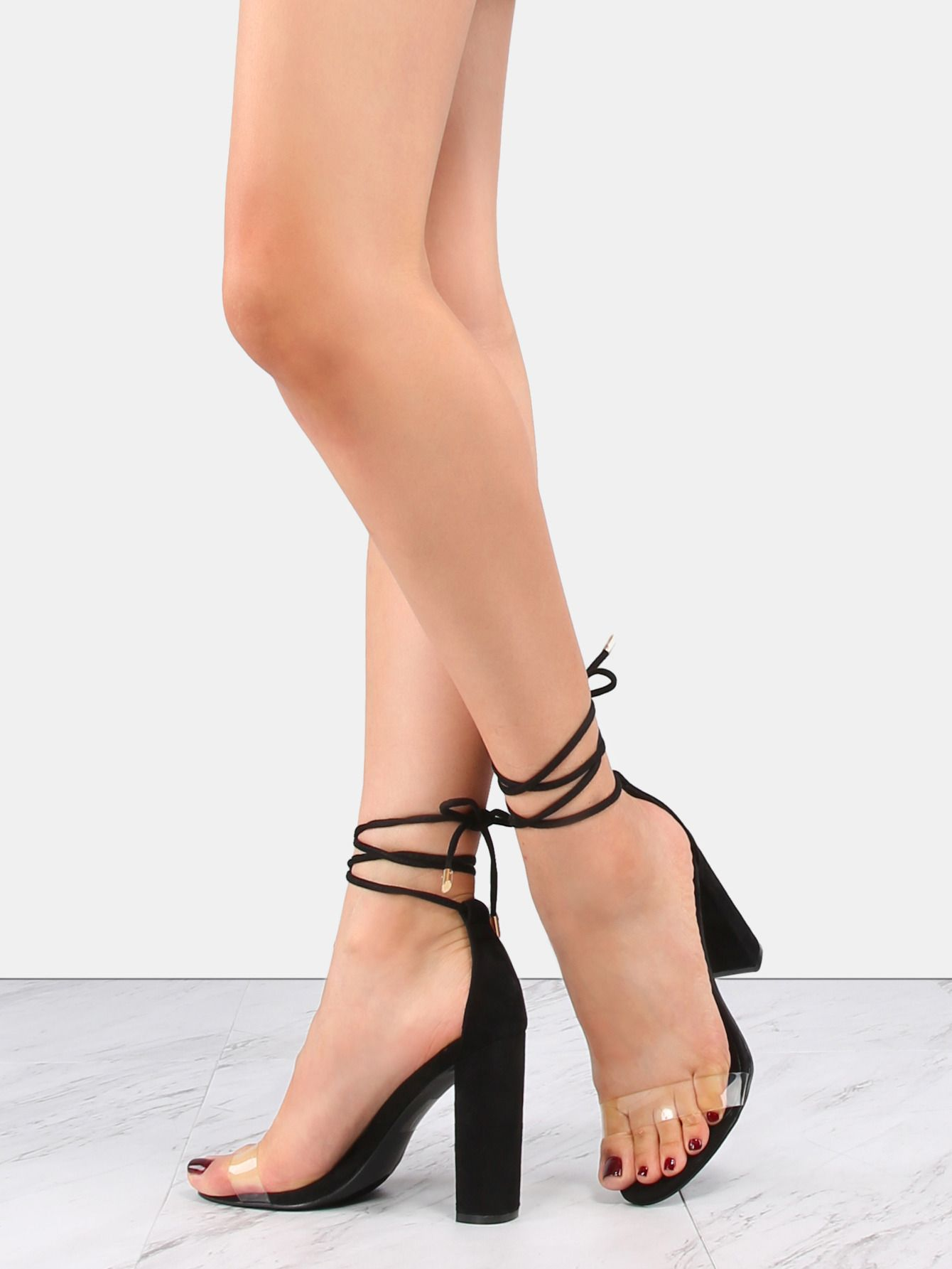 043e5d8d5b1 Transparent Lace Up Chunky Heels BLACK | MakeMeChic.COM | Make Me ...