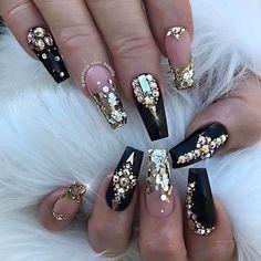 6bb77ca8108f Resultado de imagen para uñas con pedreria elegantes   uñas   Uñas ...