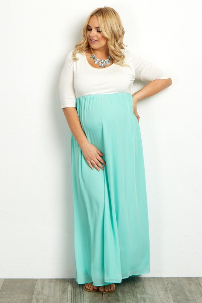 ee962ce160a Mint Chiffon Colorblock Plus Maxi Dress A colorblock plus maternity maxi  dress. Rounded neckline. Cinched under bust. 3 4 sleeves. Chiffon bottom.