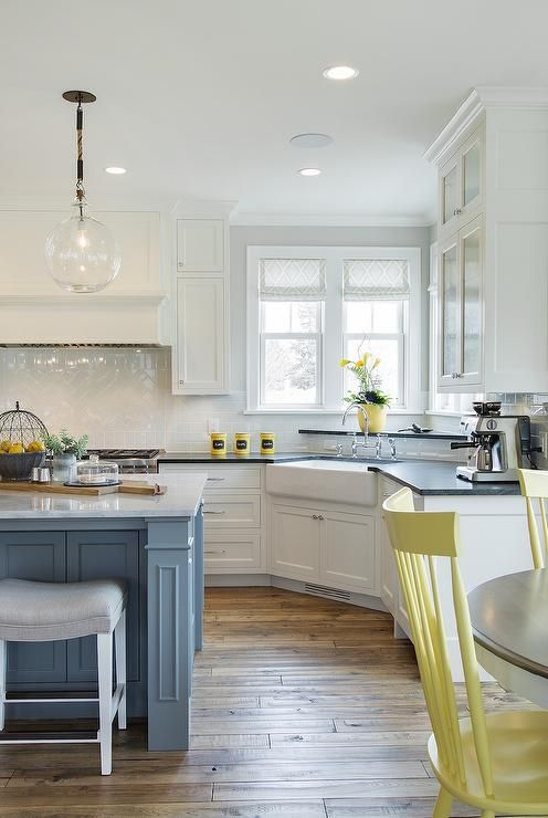 Yellow gray kitchen | Home Decor | Pinterest