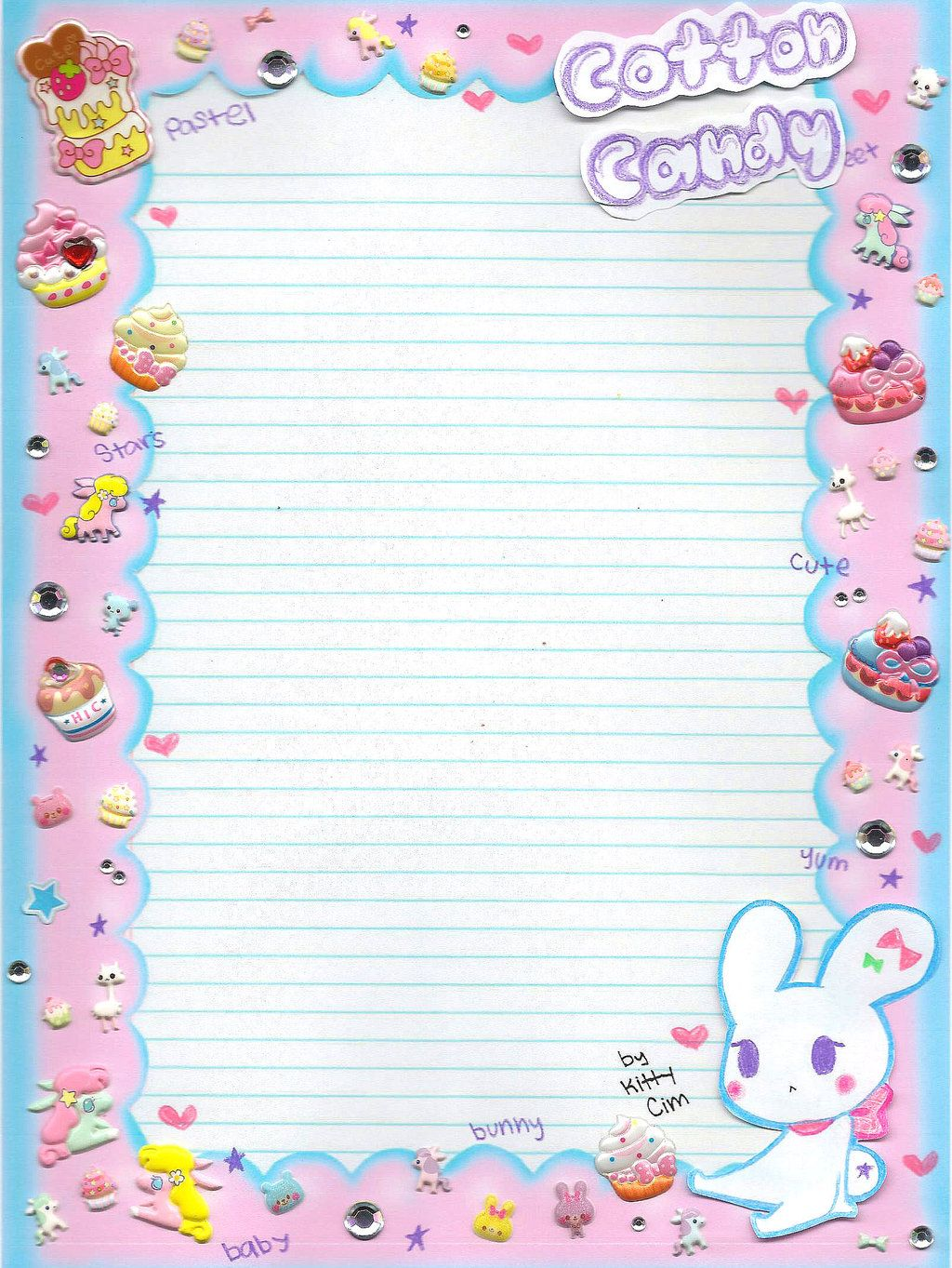 Cotton Candy Notebook Paper By TheundertakerskittyDeviantartCom