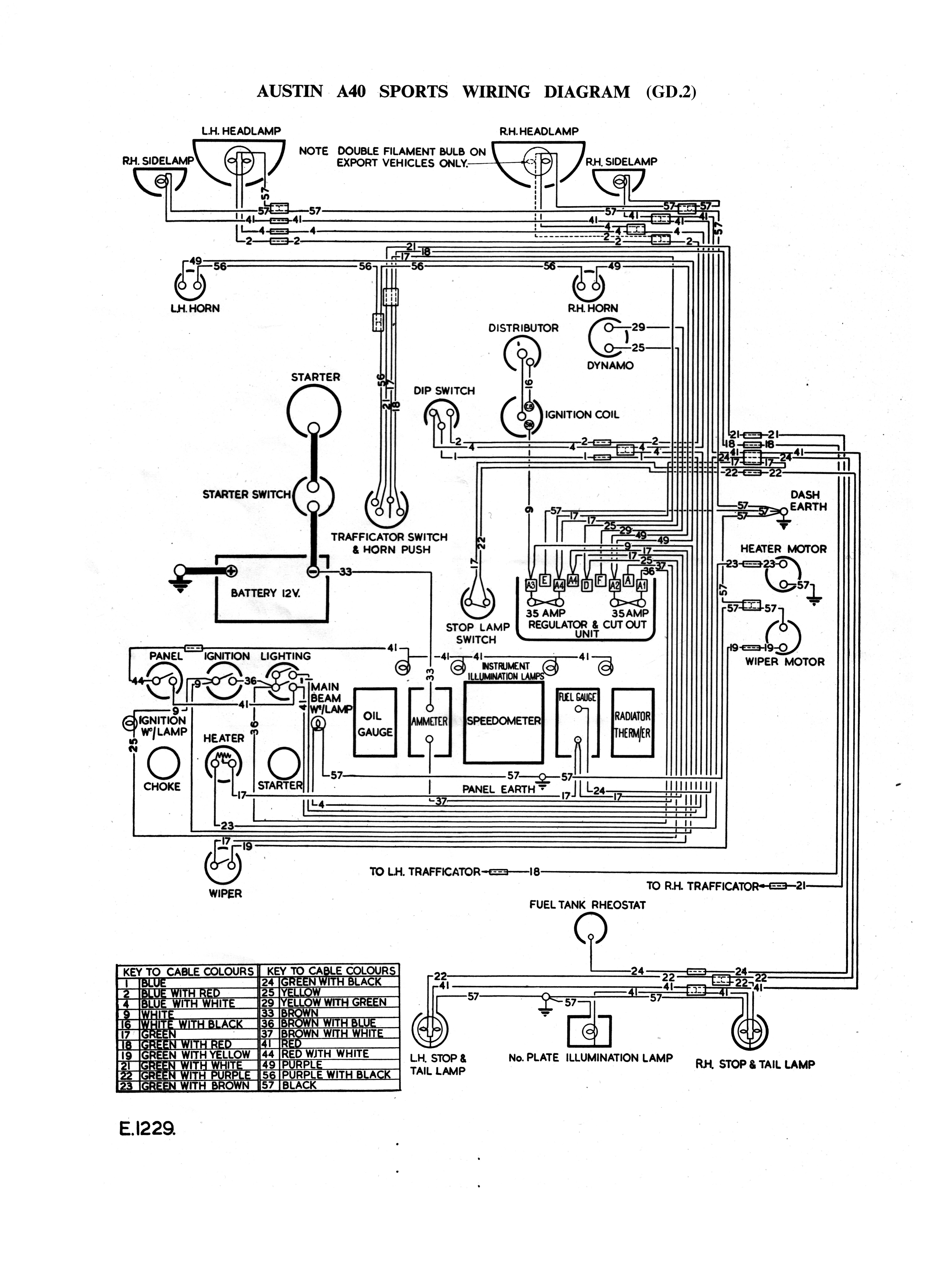 hight resolution of austin a40 sports gd2 wiring diagram