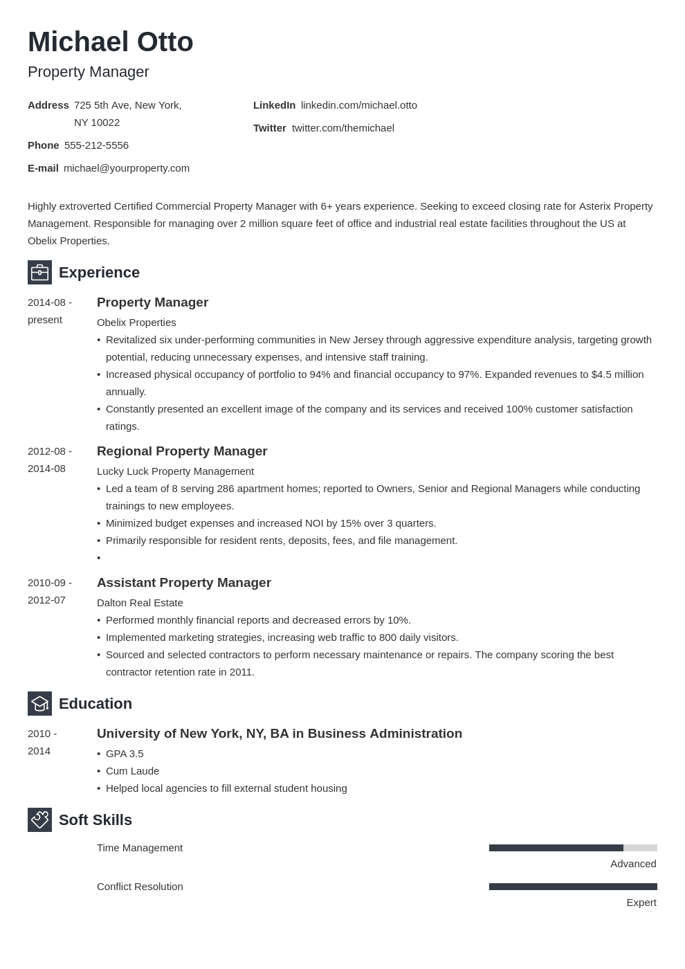 property manager resume example template newcast in 2020