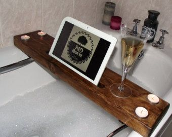 Gentil Wooden Bath Caddy   Wooden Bath Tray   Bath Board   Bathtub Caddy   Bathtub  Tray Wooden Bath Board  Tablet Stand  IPad Stand  Candle Holder