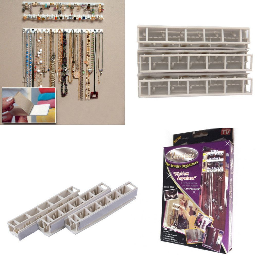 Fashion 9 in 1 Bling eez Adhesive hooks Jewelry Organizer jewelry