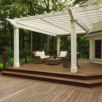 Retractable Pergola Canopy Over A Wood Deck Would Be Nice To See It With The Fabric Extended