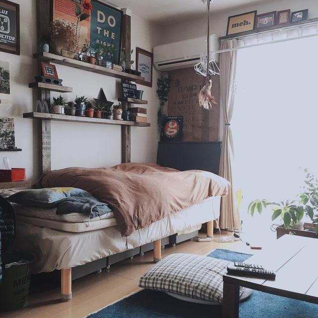 ベッド周り クッションカバー 手作り 布団カバー 無印良品 ベッド などのインテリア実例 2016 03 23 13 07 49 Roomclip ルームクリップ Bedroom Design Small Room Design Bedroom Interior