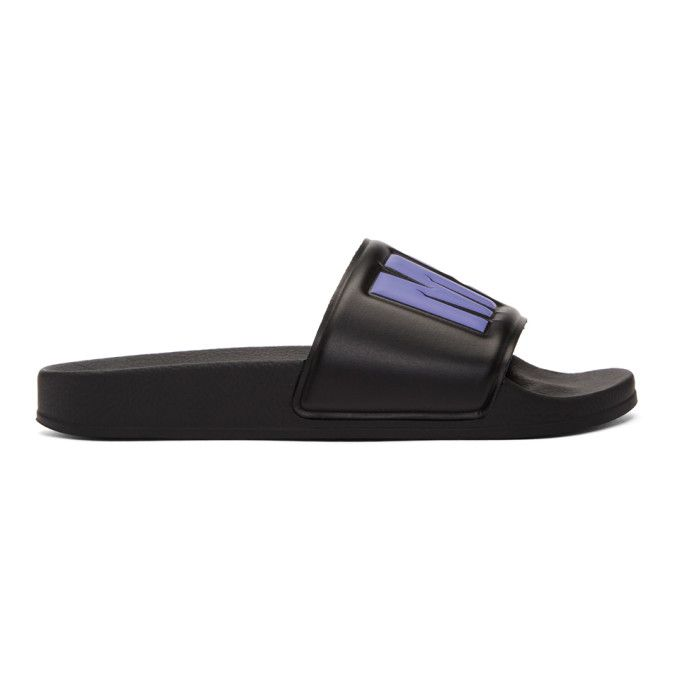 MSGM Black & White Logo Pool Slides jrfz65