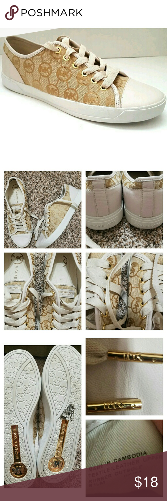 🌻JUST IN🌻MK Logo City Sneakers Trendy MK sneakers in beige, cream, and gold! These cute sneakers even have MK imprinted on the tips of the shoe laces (see Pic 3 top right). These shoes have been washed and air dried. Rubber soles. Embossed fabric on main part of shoe. Fit is TTS, in my opinion. Very good condition! I have tried to take multiple pics that show the true condition of these shoes. MICHAEL Michael Kors Shoes Sneakers