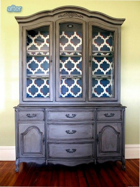 Hutch with wallpaper inside