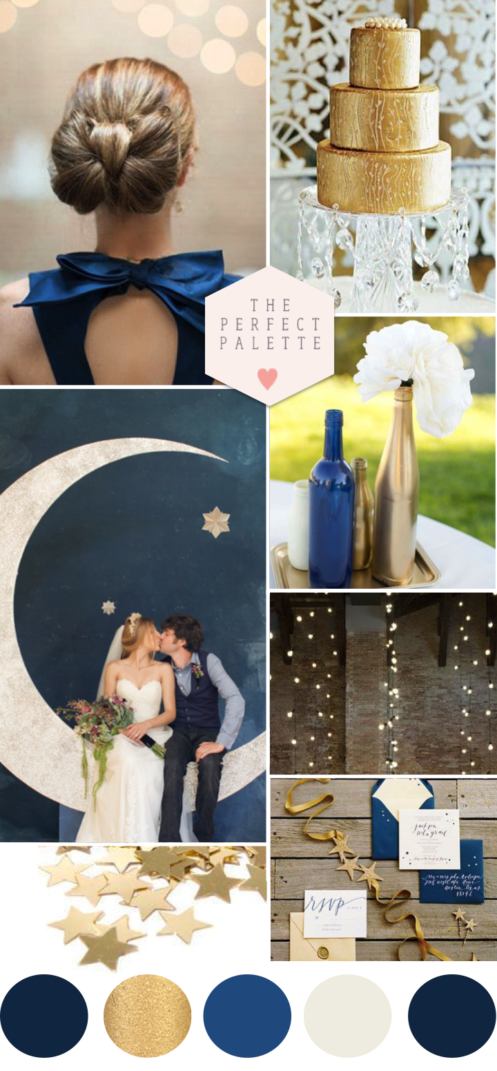 Blue and gold wedding decor  Twinkle Twinkle Little Star Blue  Gold Wedding Ideas  PALETAS DE