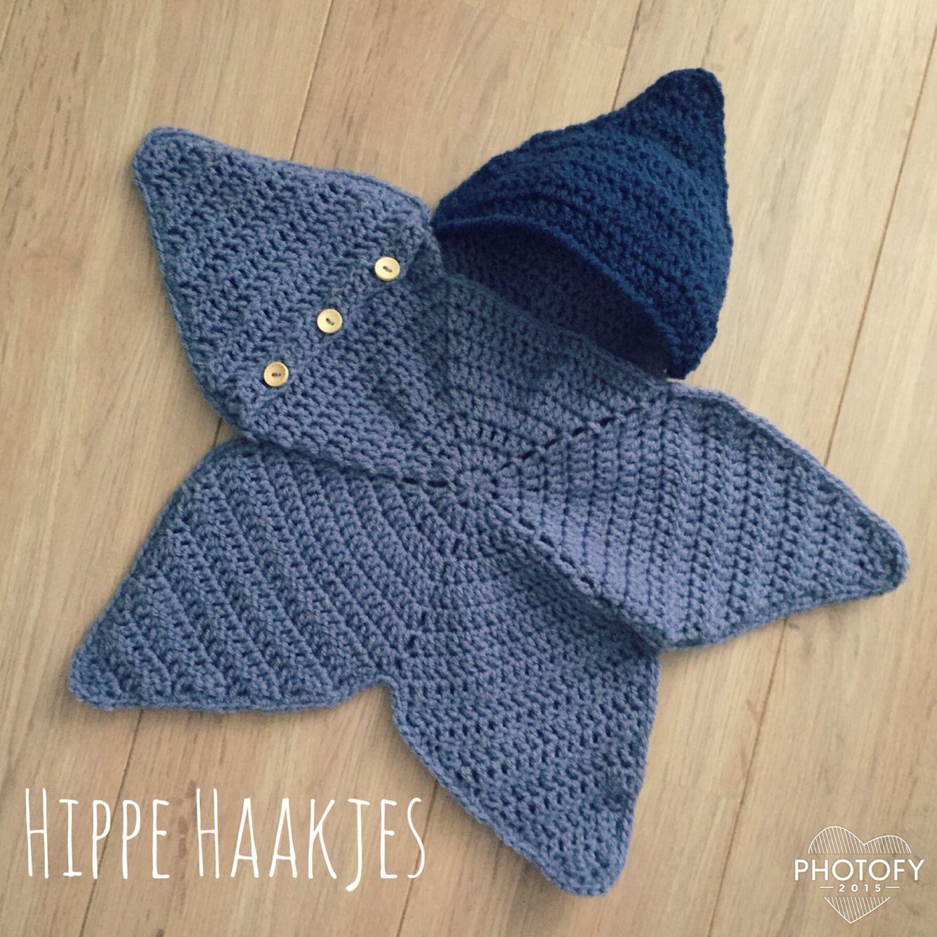 Ster Omslagdoek Haken Crochet Baby Hippehaakjes Handwerk