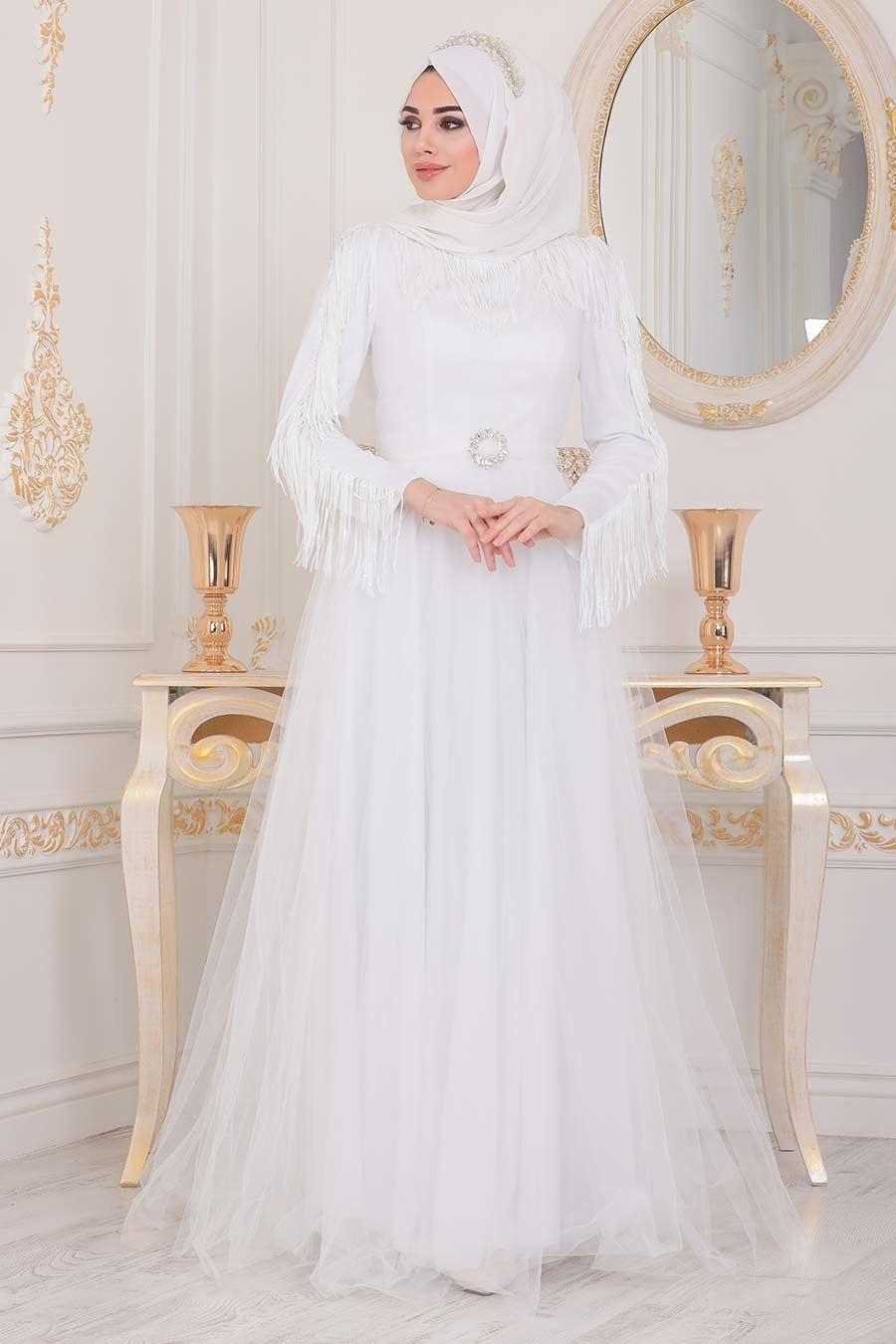 Tesetturlu Abiye Elbise Puskullu Beyaz Tesettur Abiye Elbise 40242b Tesetturisland Com 2020 The Dress Elbise Elbiseler