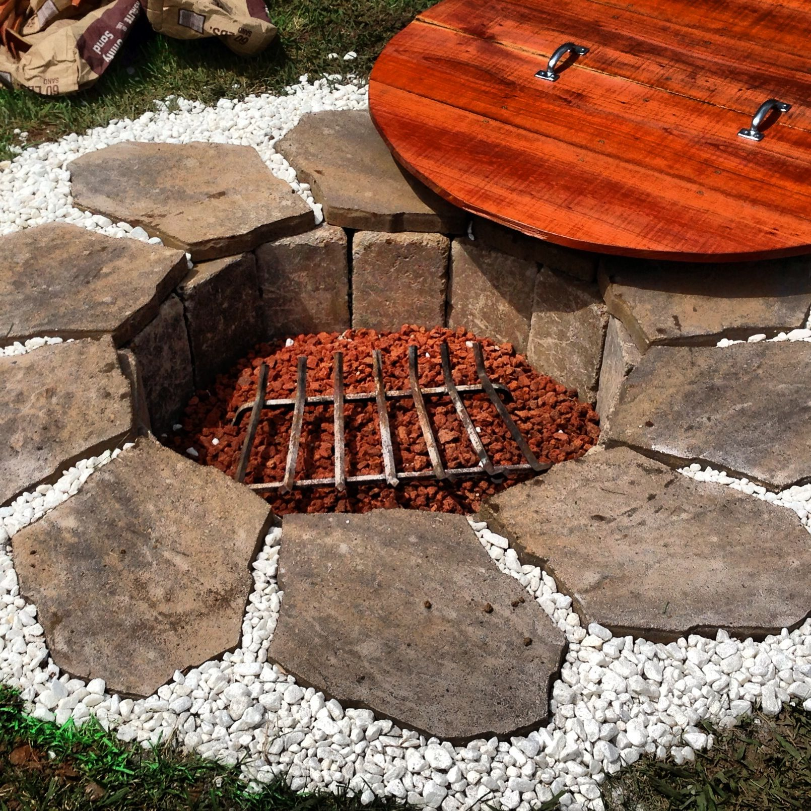 Homemade Fire Pit With Redwood Lid Built From Scratch