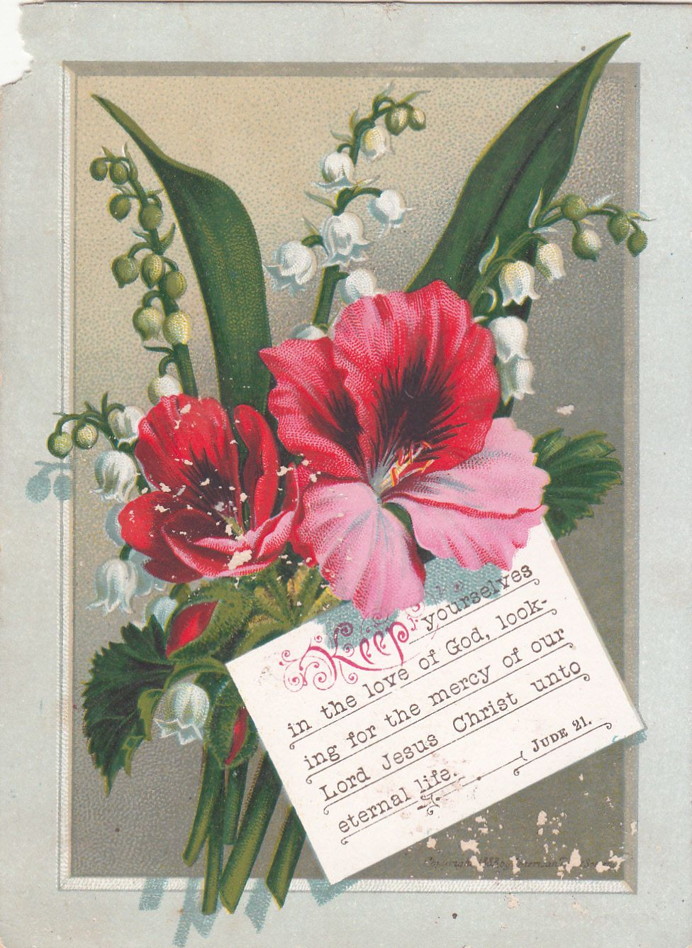 Keep Yourselves In The Love Of God Red Flowers Victorian Religious Card C  1880s |