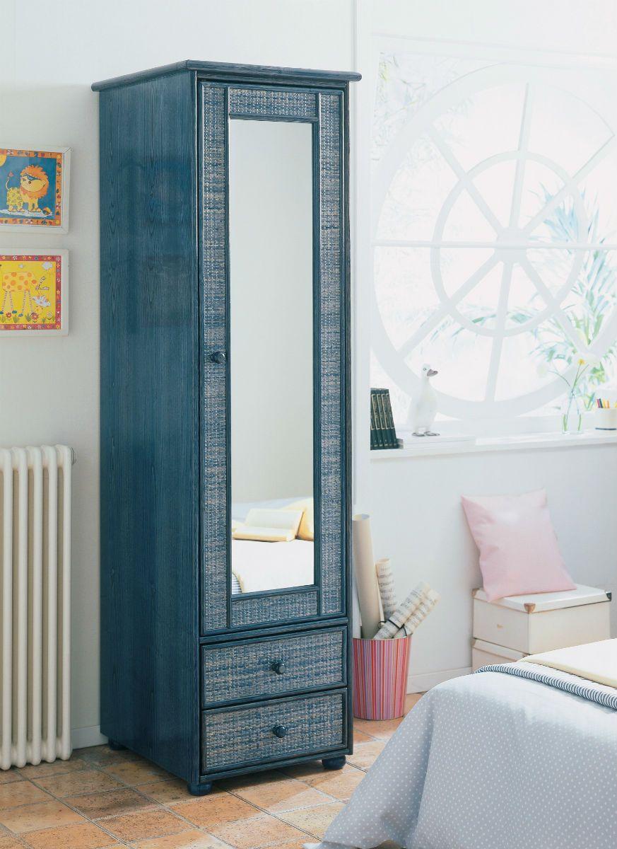 armoire 1 porte miroir en rotin brin