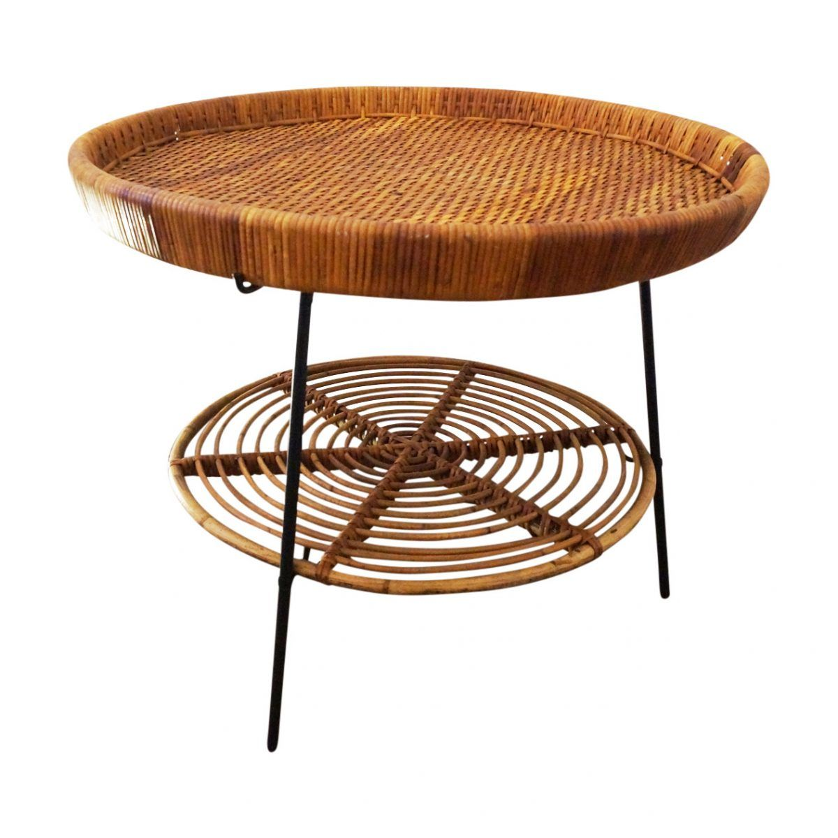Lovely And Quirky Mid Century Circular Italian Two Tier Side Table In Bamboo Woven Rattan And Black Metal Retro Furniture Furniture Table