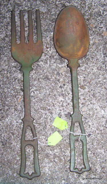 Antique Rare Cast Iron Fork & Spoon Kitchen Wall Art | Antique Iron ...