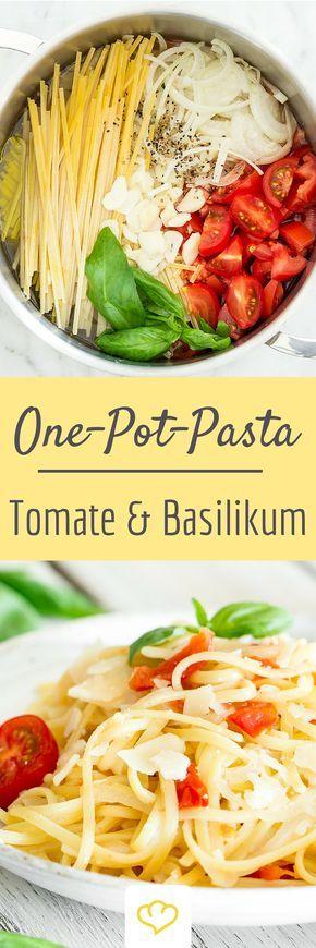 One Pot Pasta: Linguine mit Kirschtomaten und Basilikum #carneconpapas