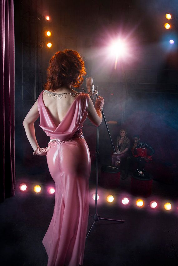 Pink Draped Latex Evening Gown Couture Cowl Drape Joan Crawford Maxi ...